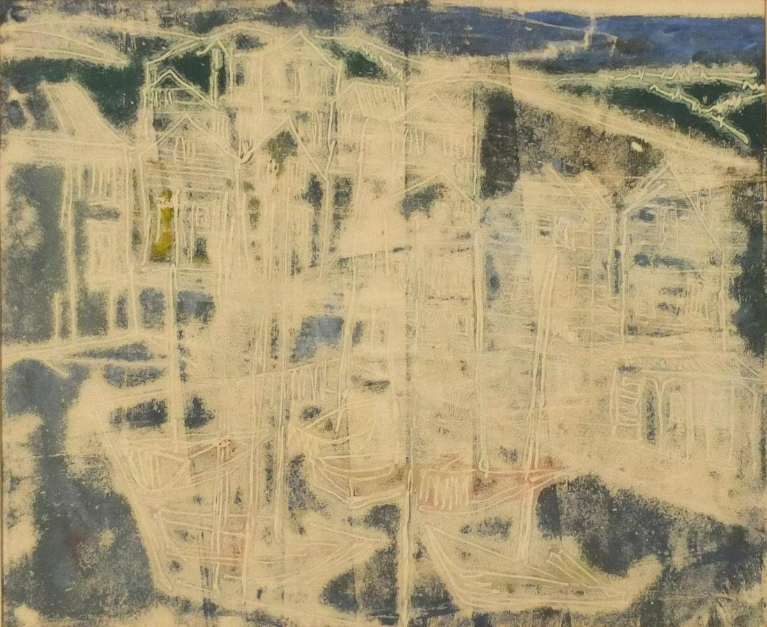 Attributed to Anna Baker - St Ives, mixed media,