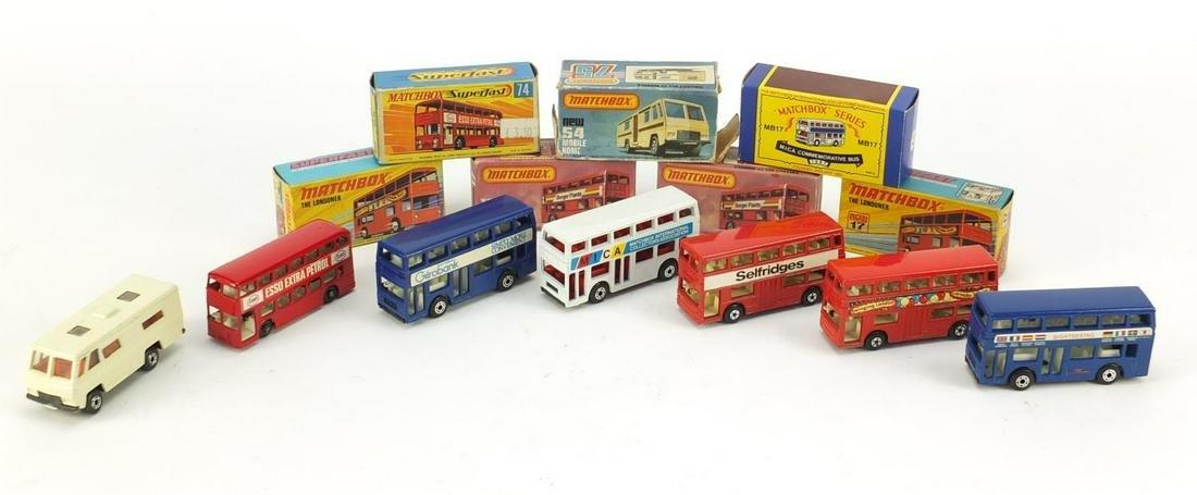 Seven vinatage Matchbox die cast vehicles with boxes