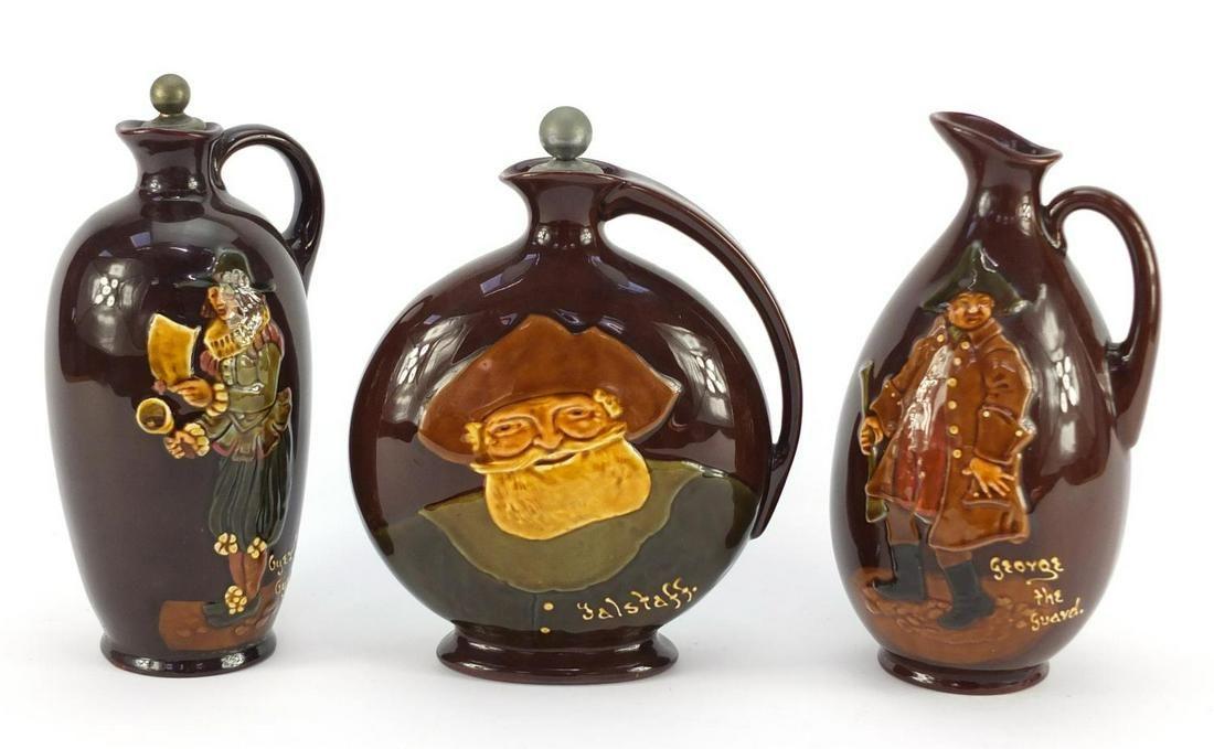 Three Royal Doulton Kingsware Dewar's whiskey decanters