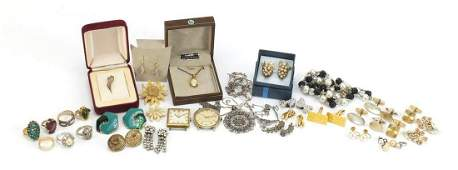 Vintage and later costume jewellery and wristwatches