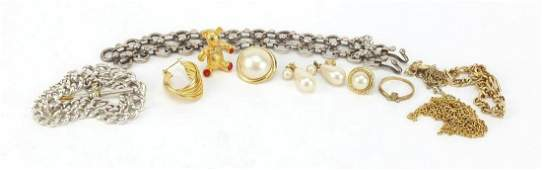 Vintage and later jewellery including a silver two row