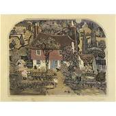 Graham Clarke - Turnips Court, pencil signed etching in