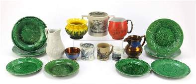 Victorian and later china including Majolica leaf