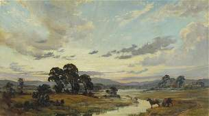 William Ongley Miller 1943 - Sunset and rising mist on