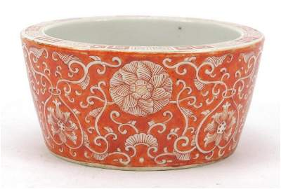 Chinese porcelain brush pot hand painted in iron red