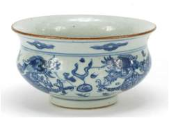 Chinese blue and white porcelain censer hand painted