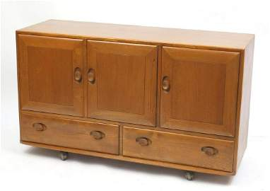 Ercol Windsor light elm sideboard with three cupboard
