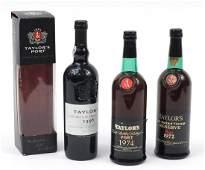 Three bottles of Taylor's Late Bottled Vintage port,