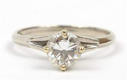 14ct white gold diamond solitaire ring, size O, 2.8g