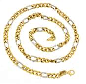18ct two tone gold necklace, 52cm in length, 24.5g