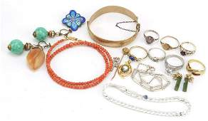 Antique and later jewellery including a coral necklace,