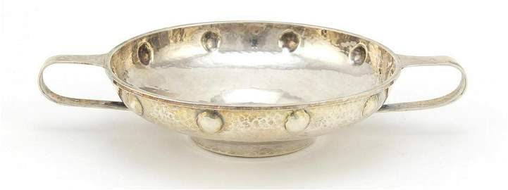 A E Jones, Arts & Crafts silver quaiche with planished