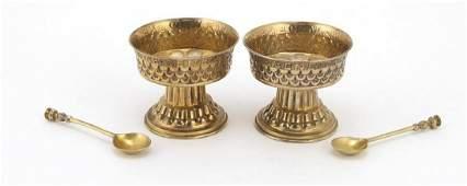 Nathan & Hayes, good pair of Arts & Crafts silver