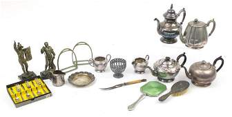 Metalware including Victorian silver backed clothes