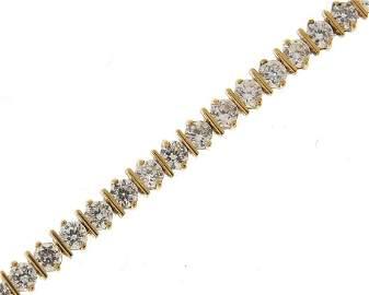 9ct gold, cubic zirconia bracelet, 18cm in length, 8.3g