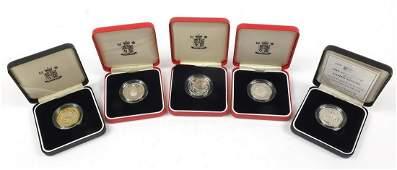 Five United Kingdom silver proof Piedfort two pound