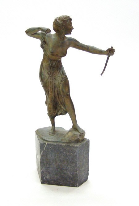 3: Gilded spelter figure of Diana the Huntress after th
