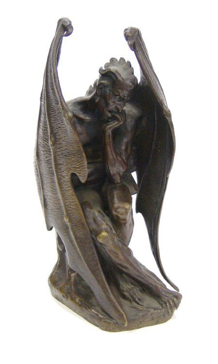 6: Brown patinated bronze study of a winged mythical fi