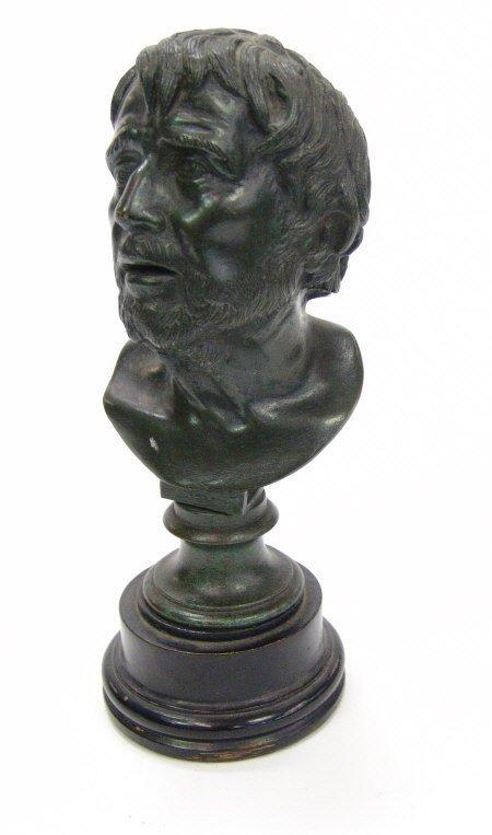 7: Green patinated bronze bust of a bearded gentleman,