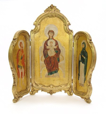 13: Large gilt wood framed triptych, the panels painted