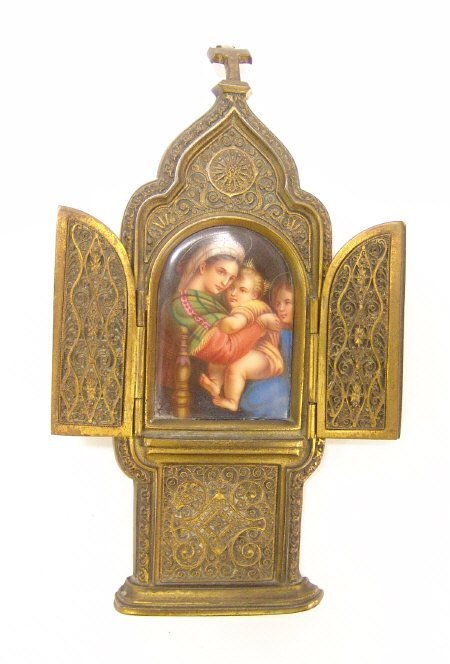 14: Gilt metal and filigree decorated religious icon, s