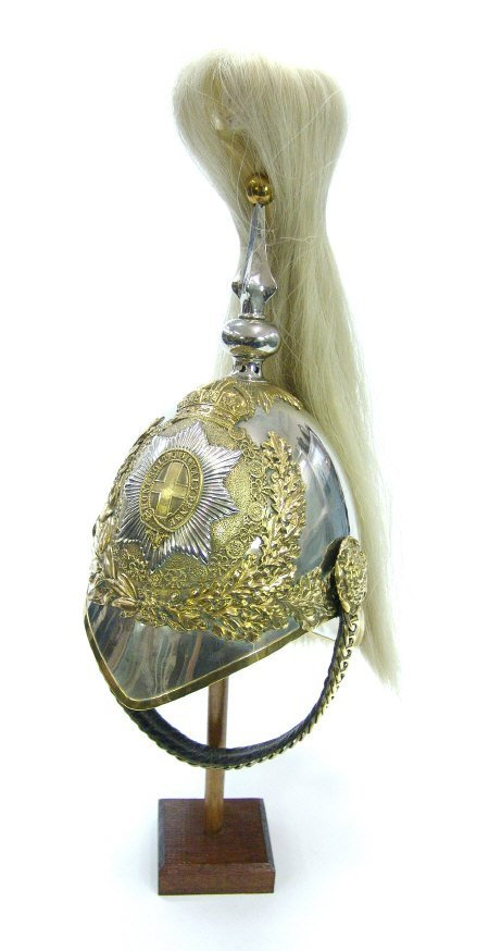 619: British military Officer's helmet with polished me