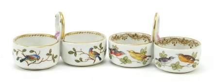Meissen, pair of German porcelain twin divisional salts