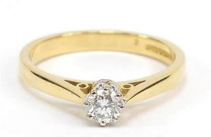 18ct gold diamond solitaire ring, size L/M, 3.2g