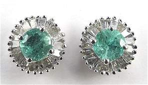 Pair of 9ct white gold emerald and diamond stud