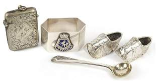 Silver plated objects including a pair of Dutch clog