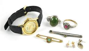 Antique and later jewellery including a silver bar