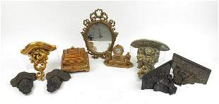 Classical ornate items including giltwood design wall