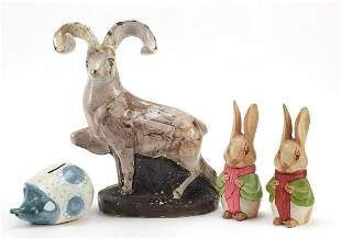 David Sharp for Rye Pottery, four hand painted animals