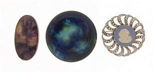 Three silver brooches comprising Blue John, Wedgwood