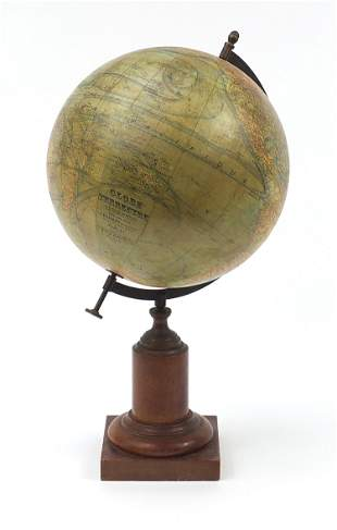 JE Forest, large French terrestrial globe, with brass