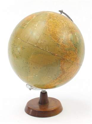 Philips 13 1/2 inch terrestrial globe with silvered