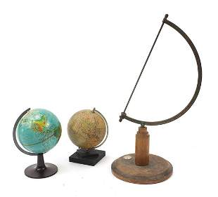 Two Terrestrial globes and a stand with inset compass
