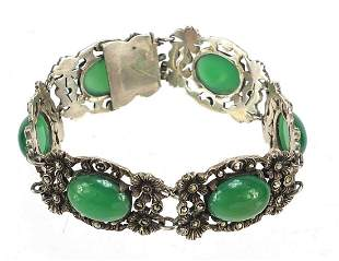 Silver marcasite cabochon green stone bracelet, 18cm in