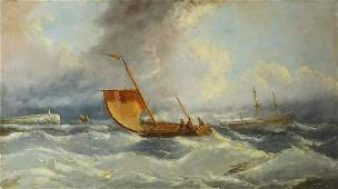 Manner of Gustave de Breanski - Boats in a squall, 19th