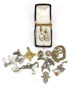 Objects and costume jewellery including silver pendants