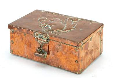 John Pearson, Arts & Crafts copper casket embossed with