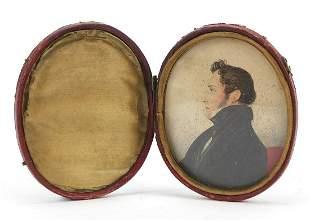 Georgian oval hand painted portrait miniature of a