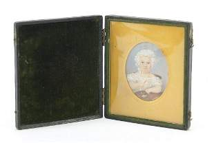 19th century oval hand painted portrait miniature of a