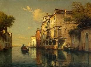 Antoine Bouvard - Gondola on Venetian backwater, French