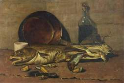 Still life fish, copper pan, bottle, and shells,