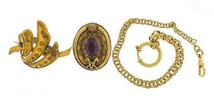 Gold coloured metal jewellery including a Victorian