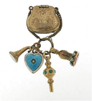 Antique gold coloured metal fobs, watch key, locket in