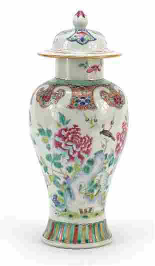 Chinese porcelain baluster vase and cover hand painted