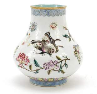Chinese porcelain baluster vase, finely hand painted in