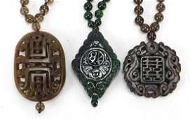 Three Chinese carved hardstone pendant bead necklaces,